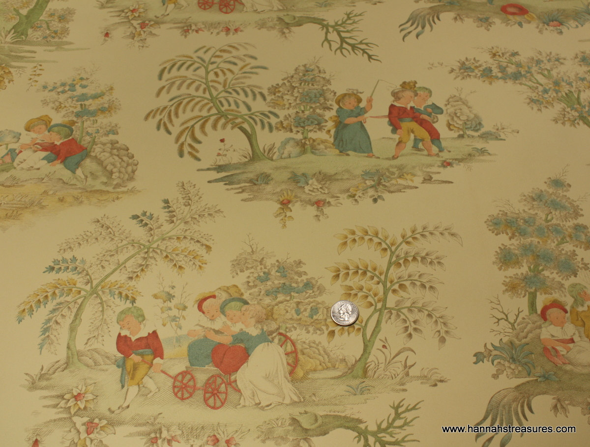 1940s Vintage Wallpaper Birge Folk Art by HannahsTreasures 1200x910
