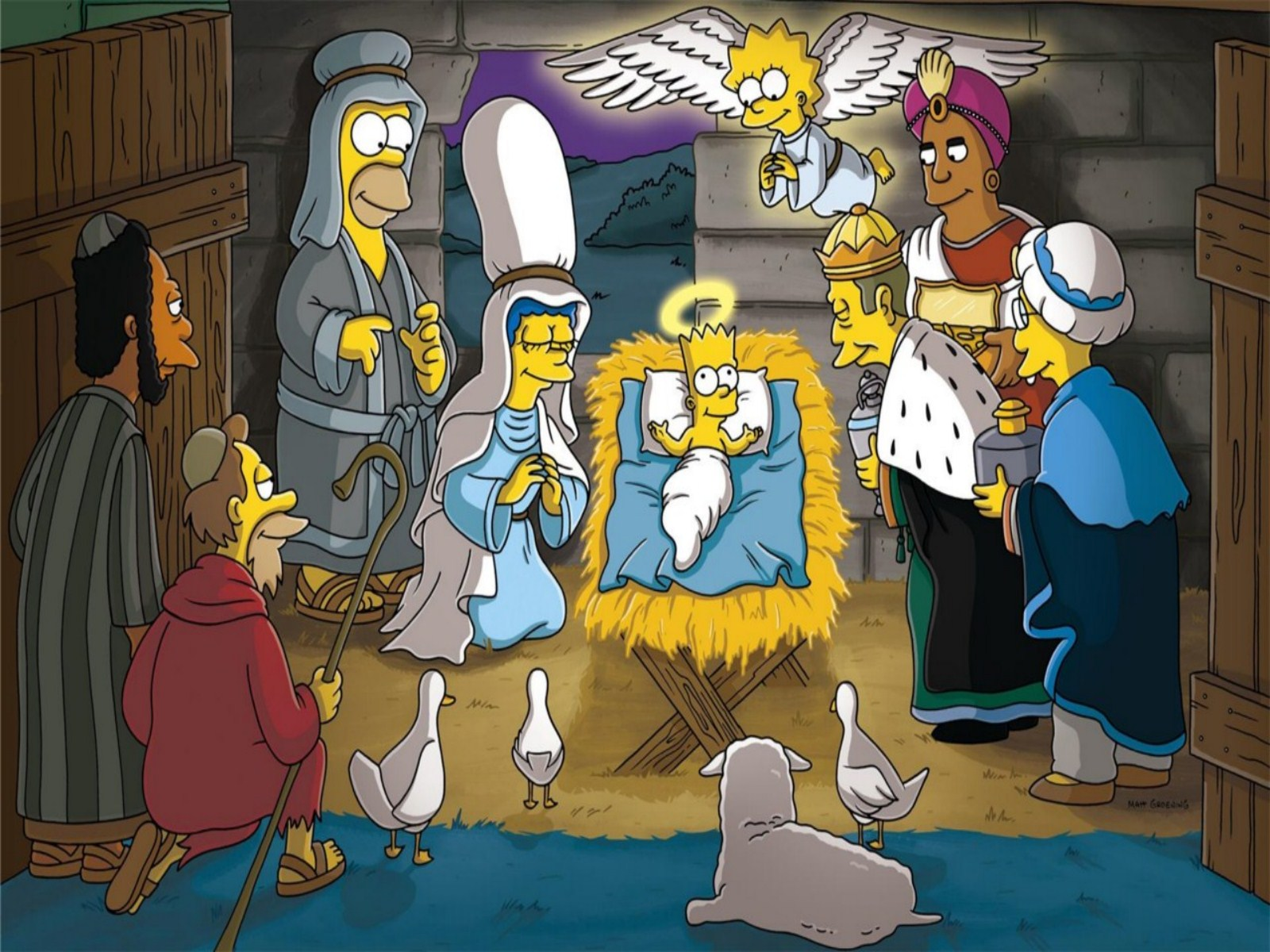 Simpsons Christmas Wallpaper 1600x1200