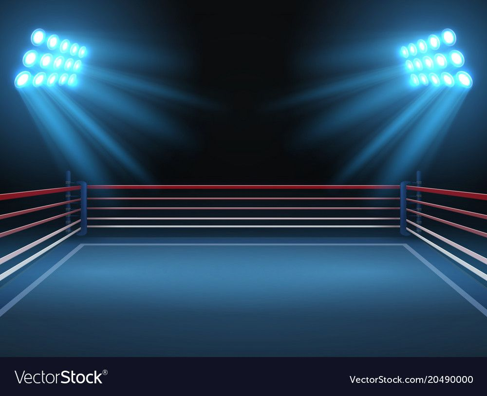 Empty wrestling sport arena Boxing ring dramatic sports vector 1000x813