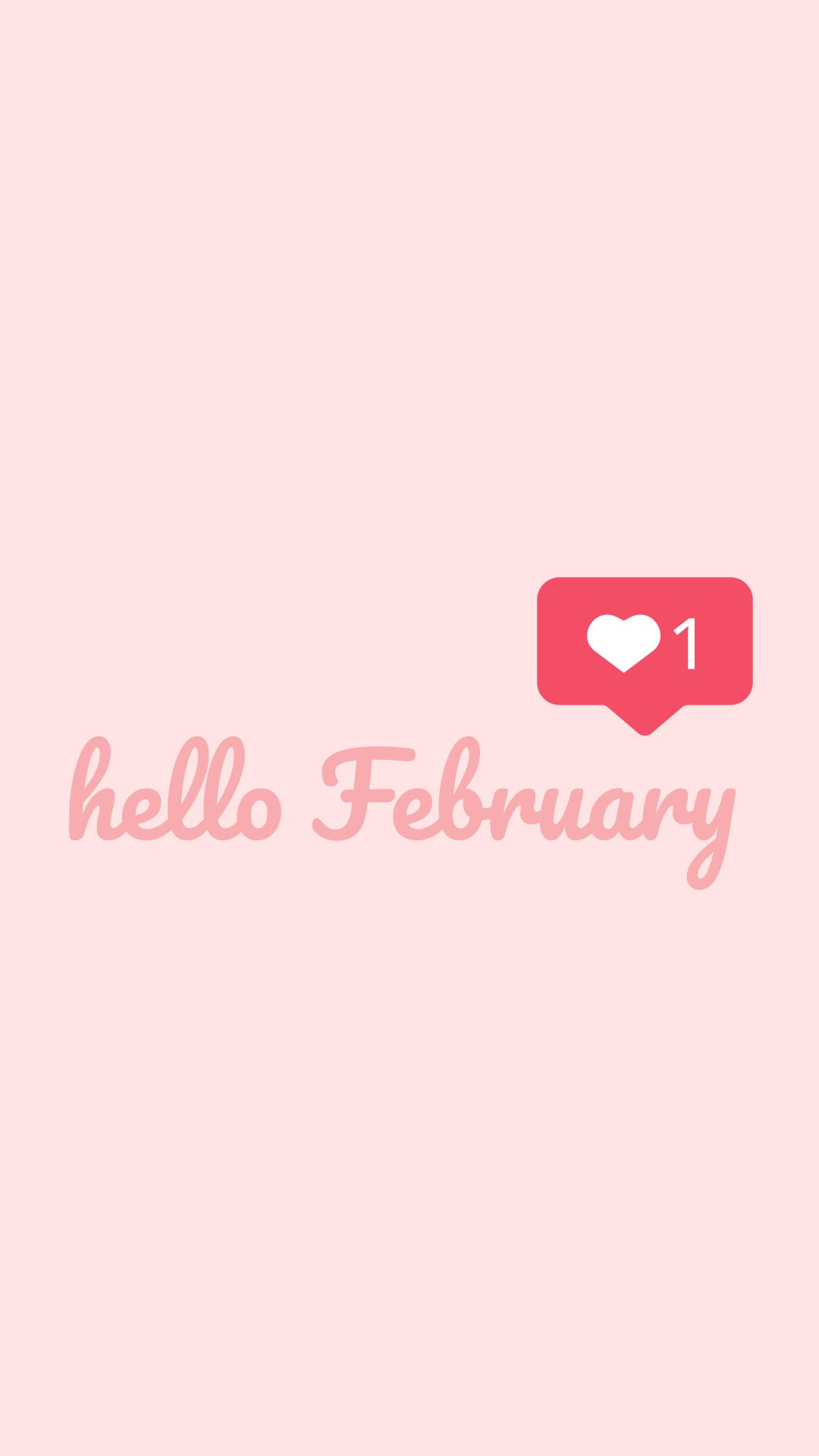 Hello February Valentines Day theme wallpaper available for 1080x1920