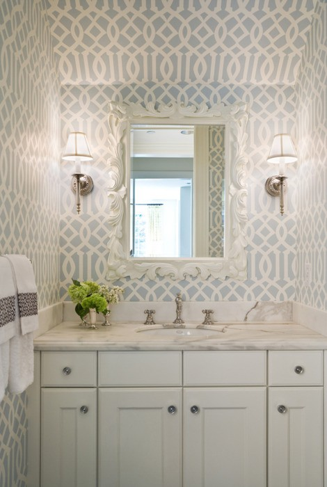 Wallpaper in Powder Rooms Interior Designer in Charlotte   Interior 470x700