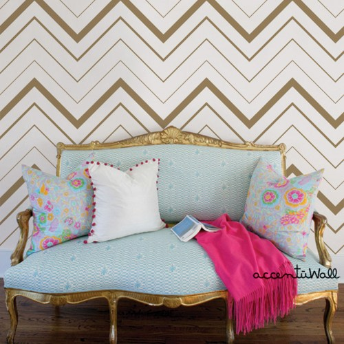 Chevron Bold Gold Peel and Stick Fabric Wallpaper Repositionable 500x500