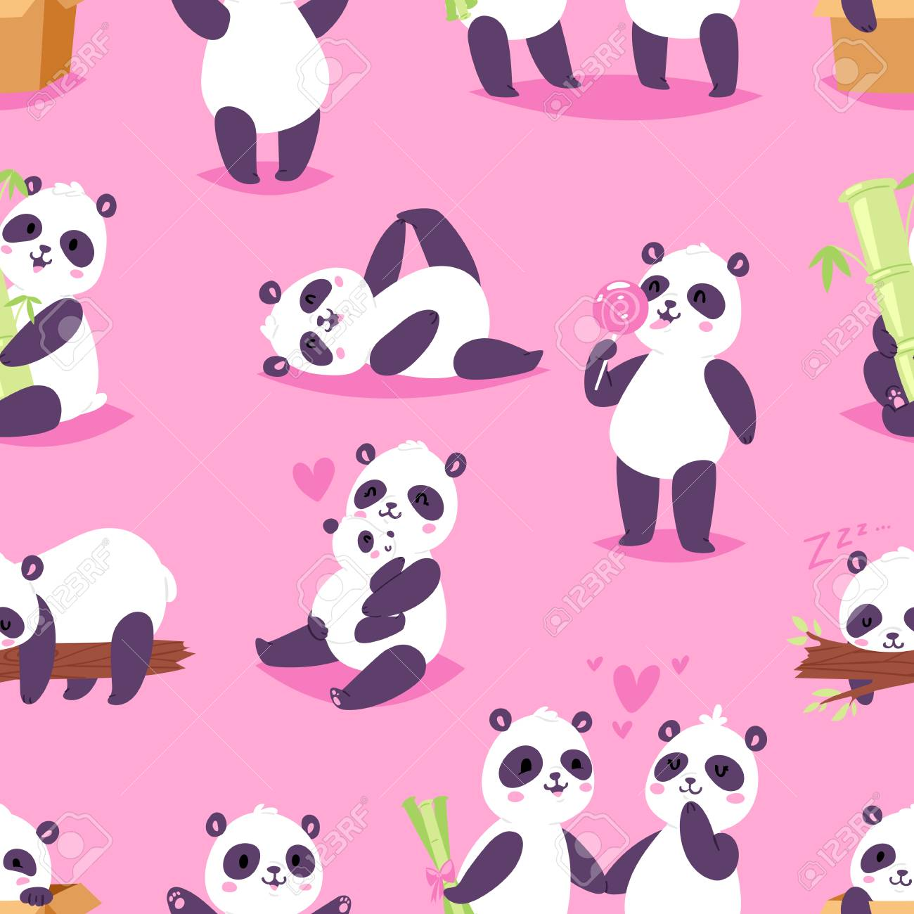 Panda Vector Bearcat Or Chinese Bear With Bamboo In Love Playing 1300x1300