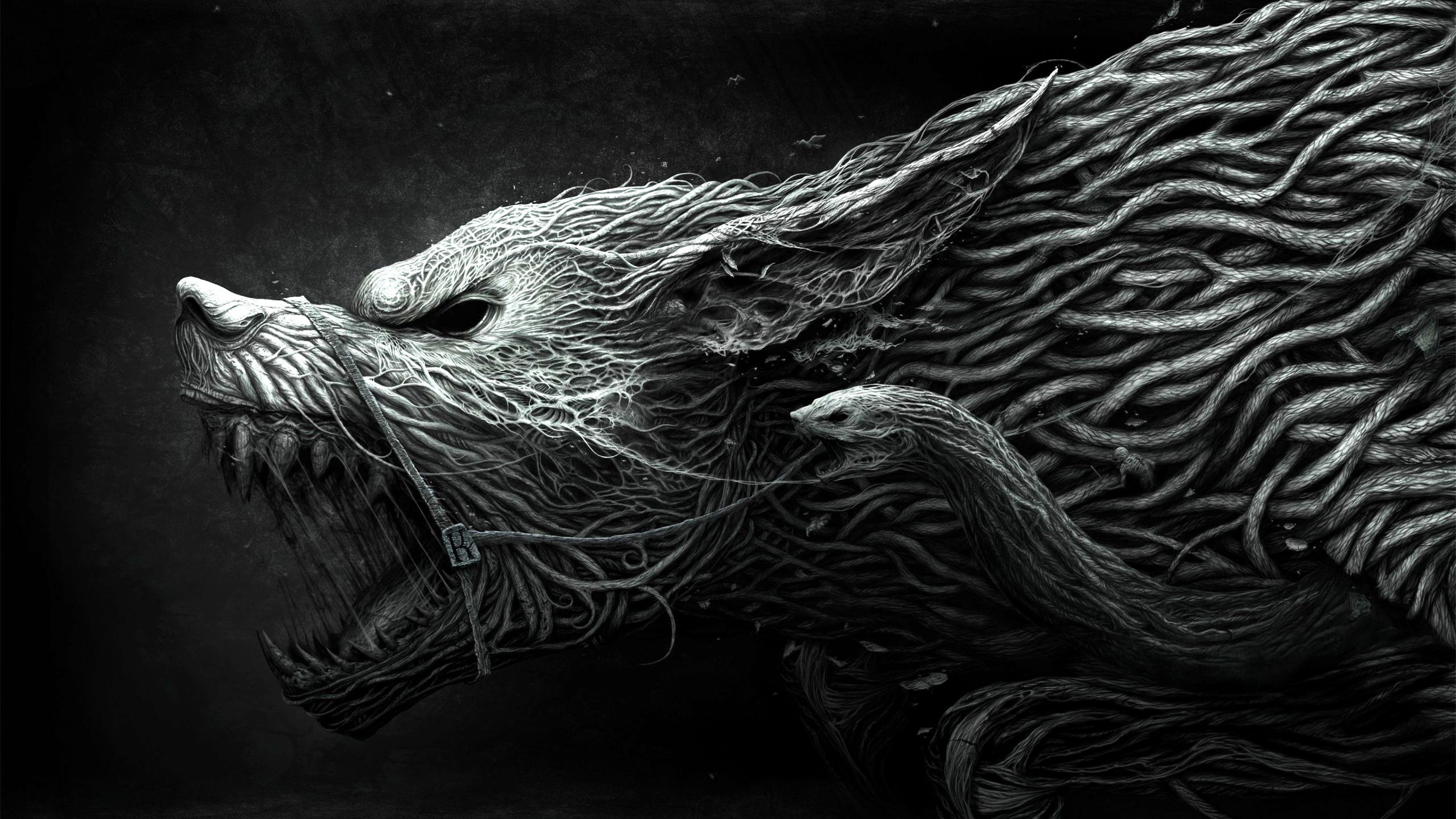 Wallpaper Wolf Hellhound art black and white dangerous noise 3840x2160
