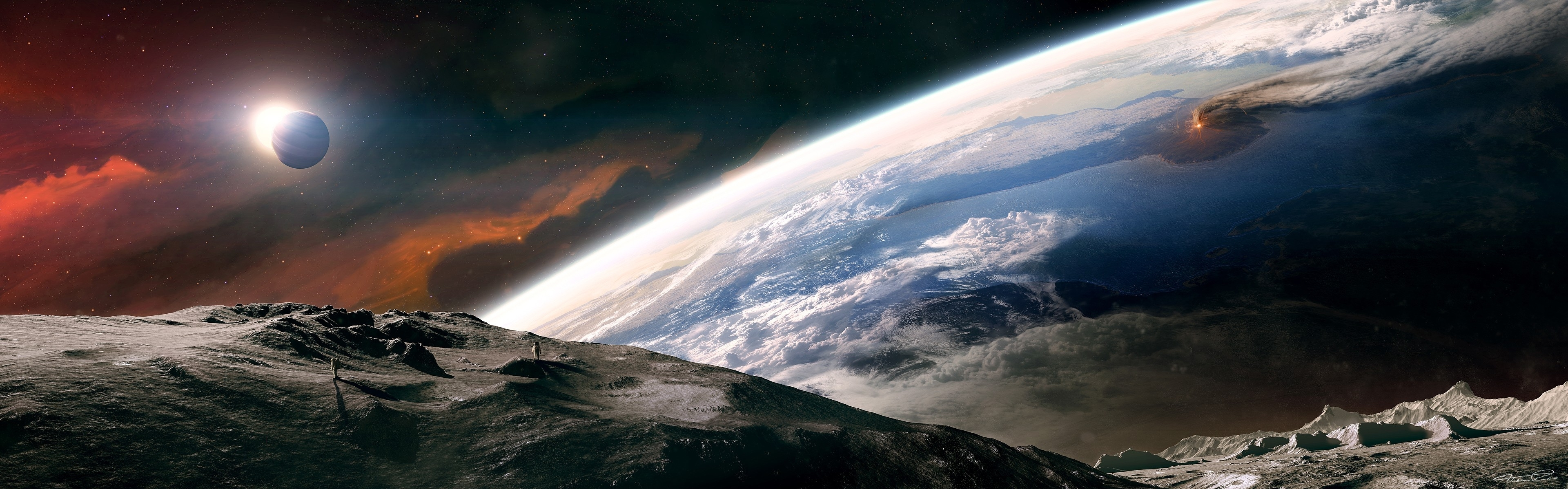 outer space moon earth tranquility dual monitor 3840x1200 wallpaper 3840x1200