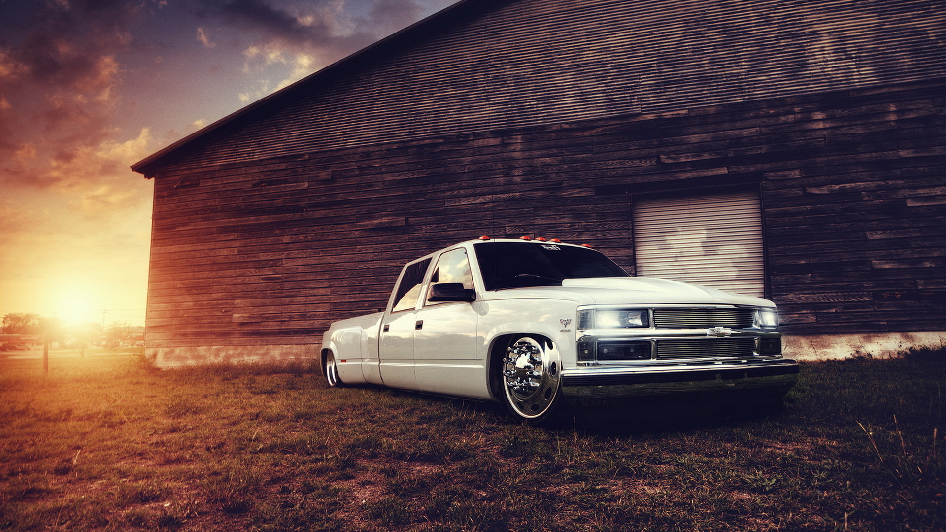 Chevrolet truck tuning white building lowrider sunset wallpaper 1920x1080