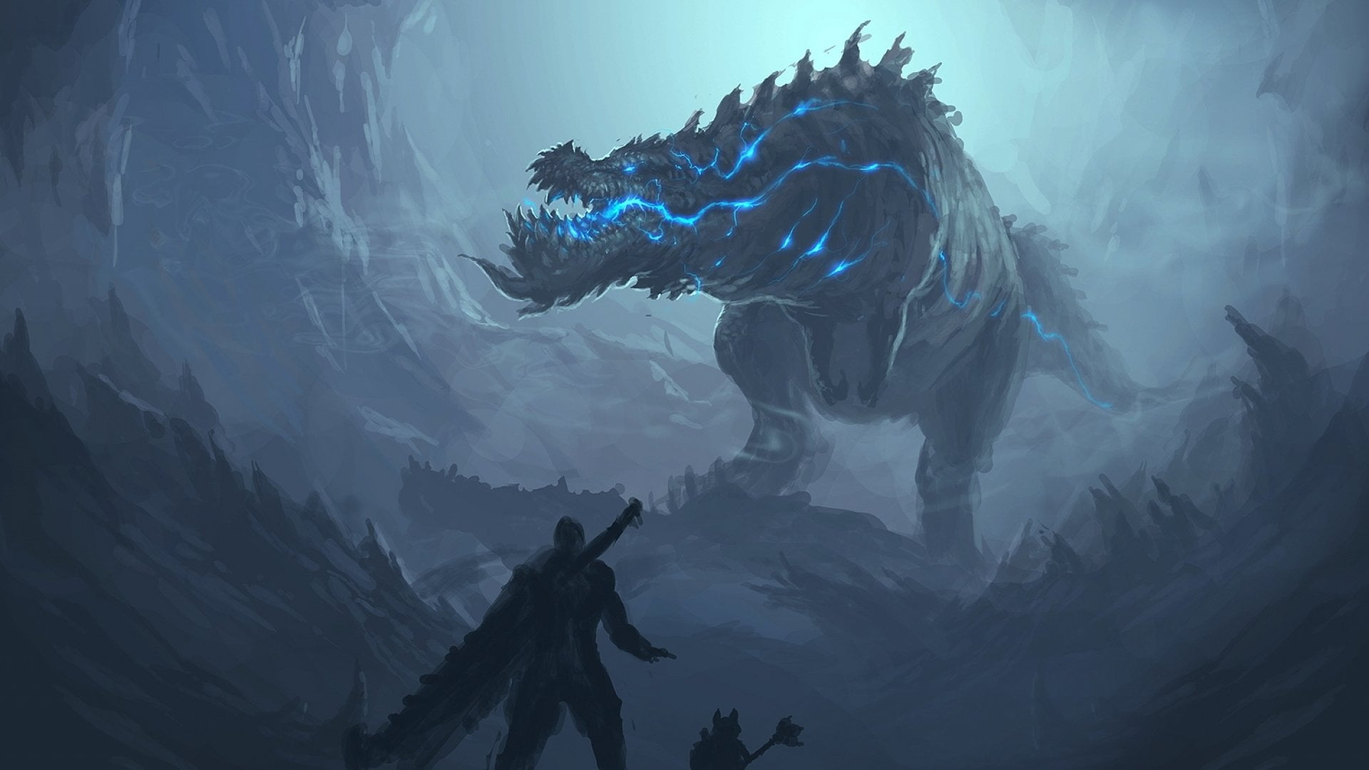 Blue and black dragon wallpaper creature teeth Monster Hunter 1920x1080