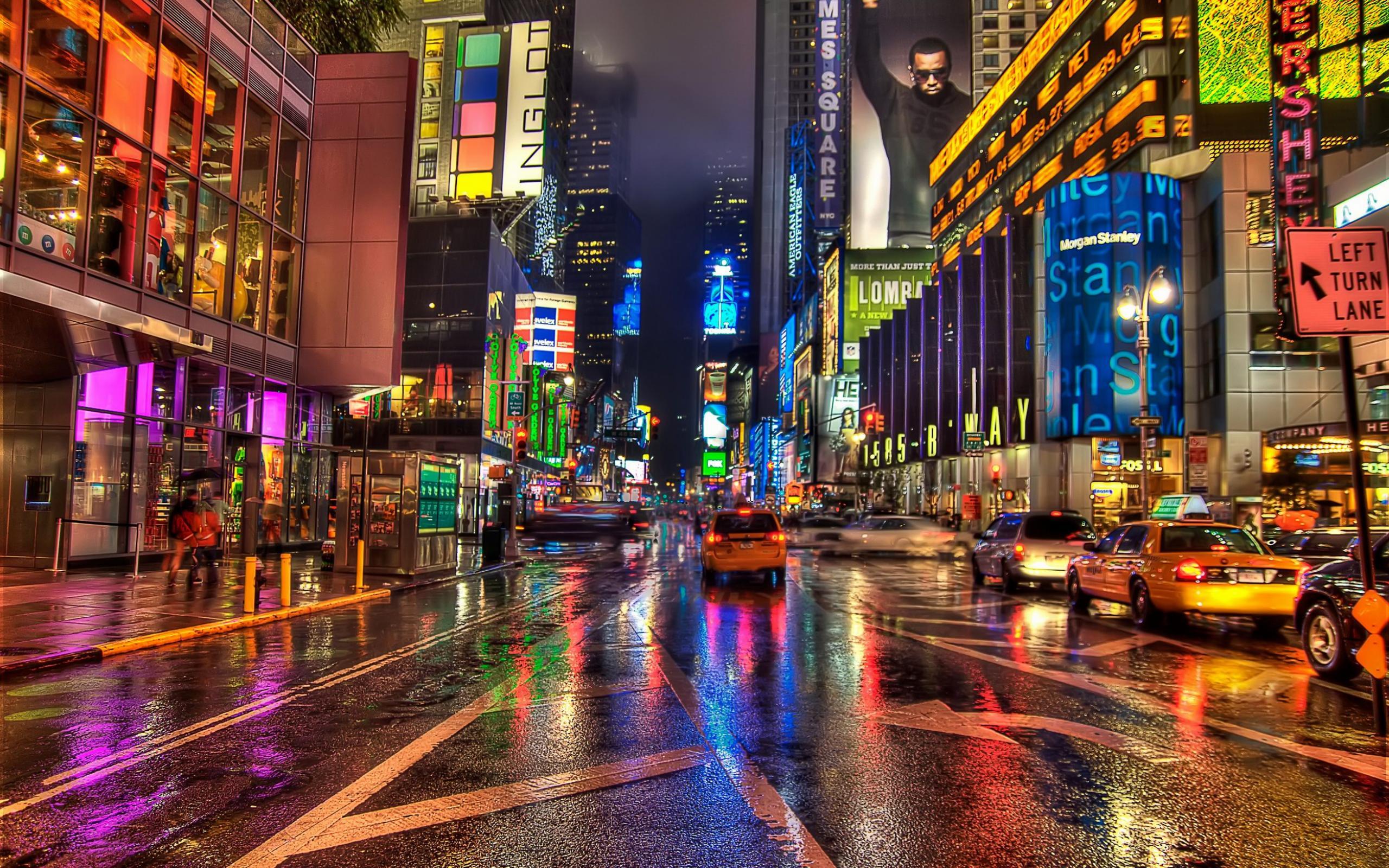 New York City Street Night HD Wallpaper   HD Background 2560x1600