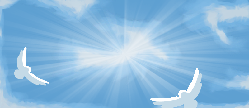 The man owns a funeral home so I tried to create a heavenly scene 800x350