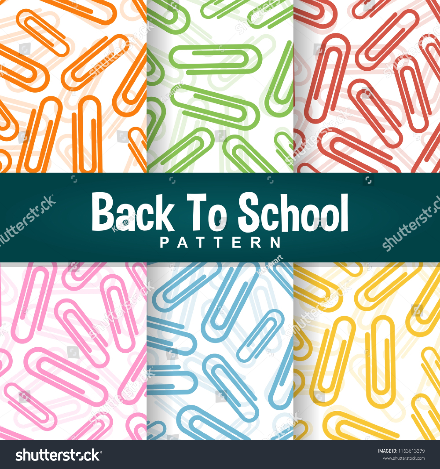 Set Background Back School Colorful Paperclip Stock Vector 1500x1600