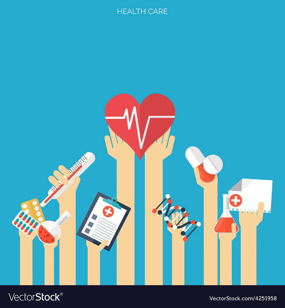 Flat health care and medical research background Vector Image 1000x1080