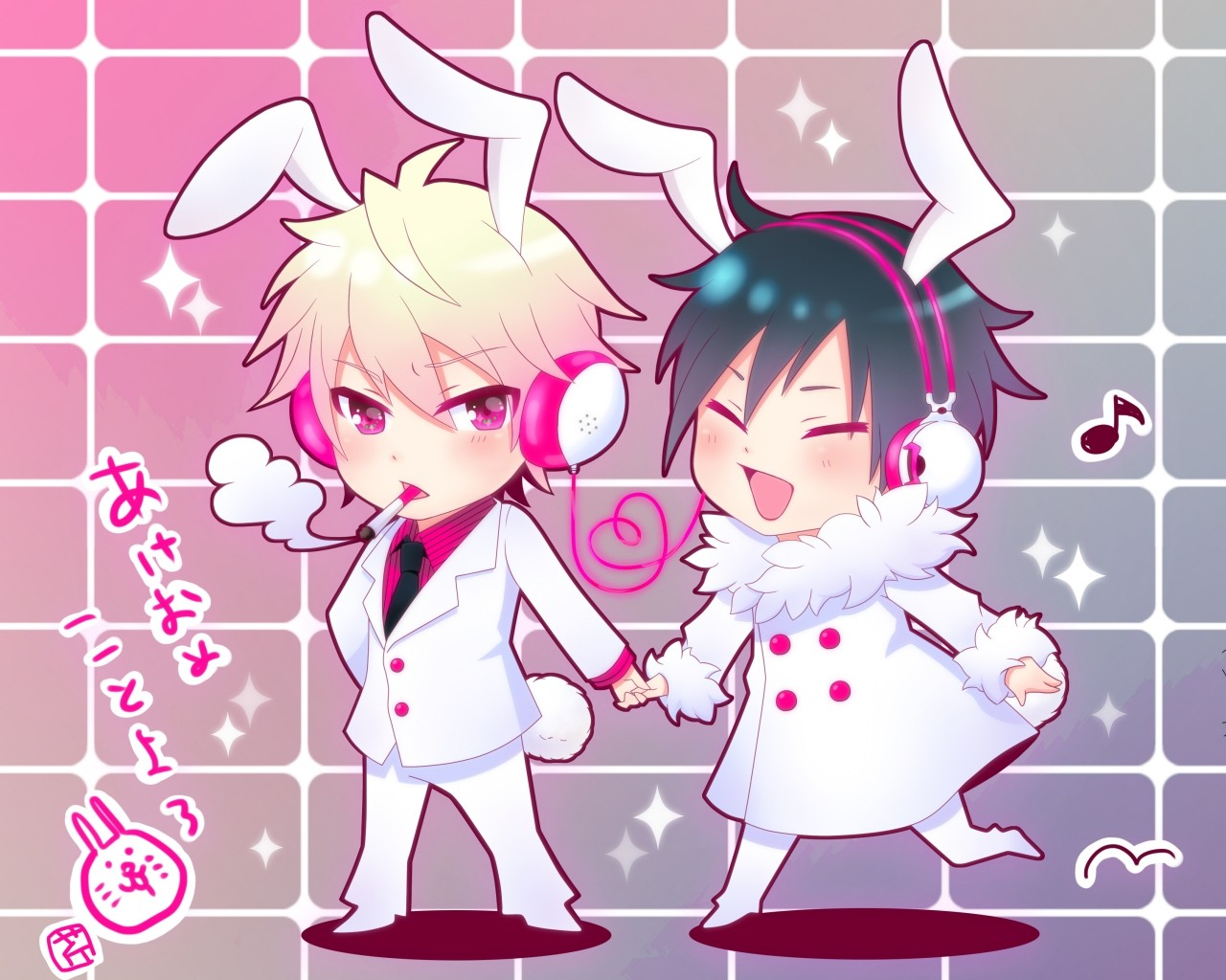 Chibi Yaoi Wallpaper 1280x1024 Chibi Yaoi Animal Ears Durarara 1280x1024