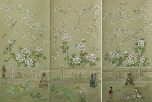 Chinoiserie Hand Painted Wallpaper   CHINOISERIE GARDEN 1 Flickr 500x336
