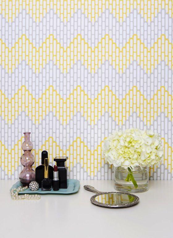 Nursery   Kimberly Lewis Yellow and Gray Chevron Wallpaper nursery 560x770