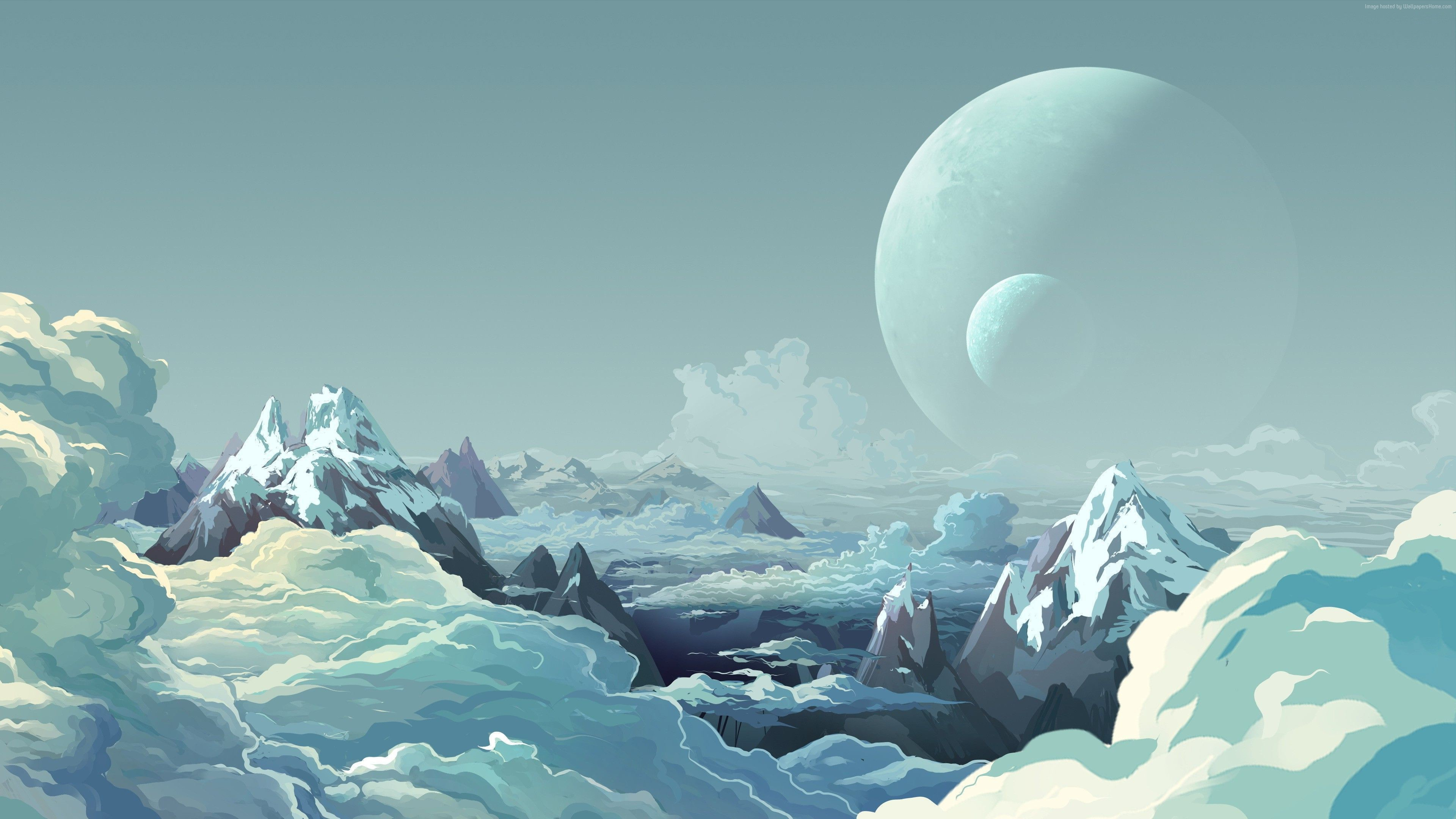 Mountains Clouds Planets Snow 2179 Wallpapers and Stock 3840x2160