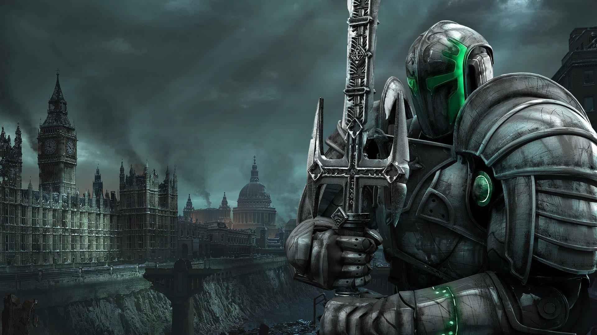 sci fi warrior knight armor city apocalyptic wallpaper background 1920x1080