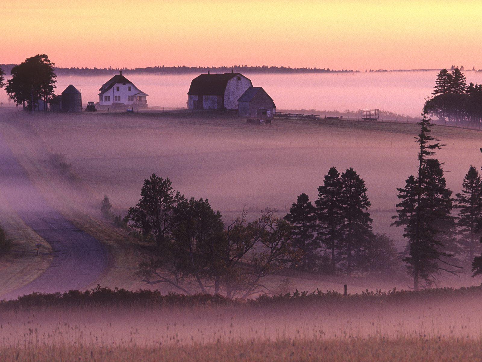Wallpaper canada fog morning Clyde River Prince Edward Island 1600x1200