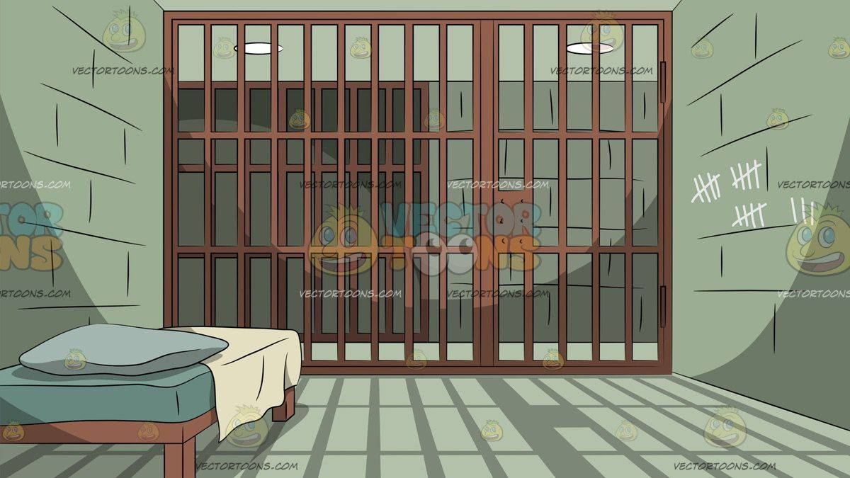 A Prison Cell Background A single prison cell with a brown bed 1200x675