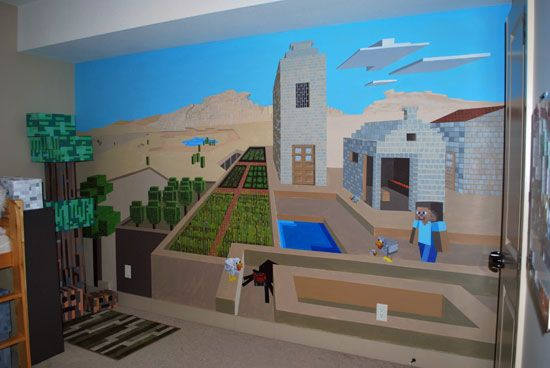 wall mural Alijahs minecraft room Pinterest Minecraft Wall 550x368