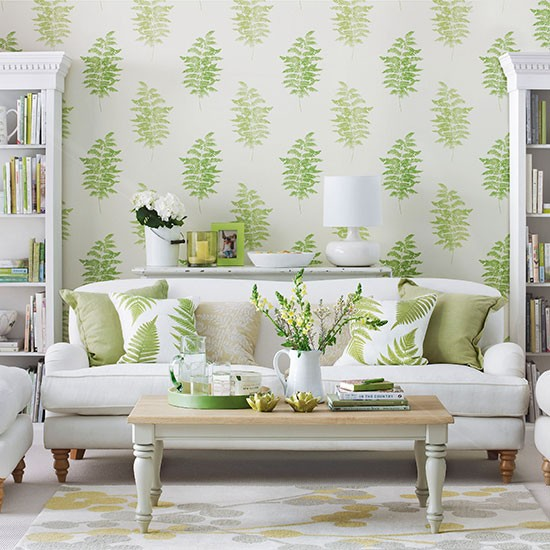 Living room with green fern design wallpaper Living room decorating 550x550