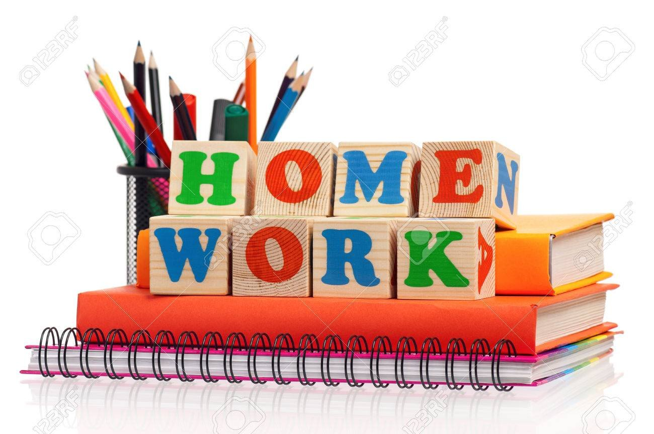 Toy Letters That Spell Homework And Books Over White Background 1300x863