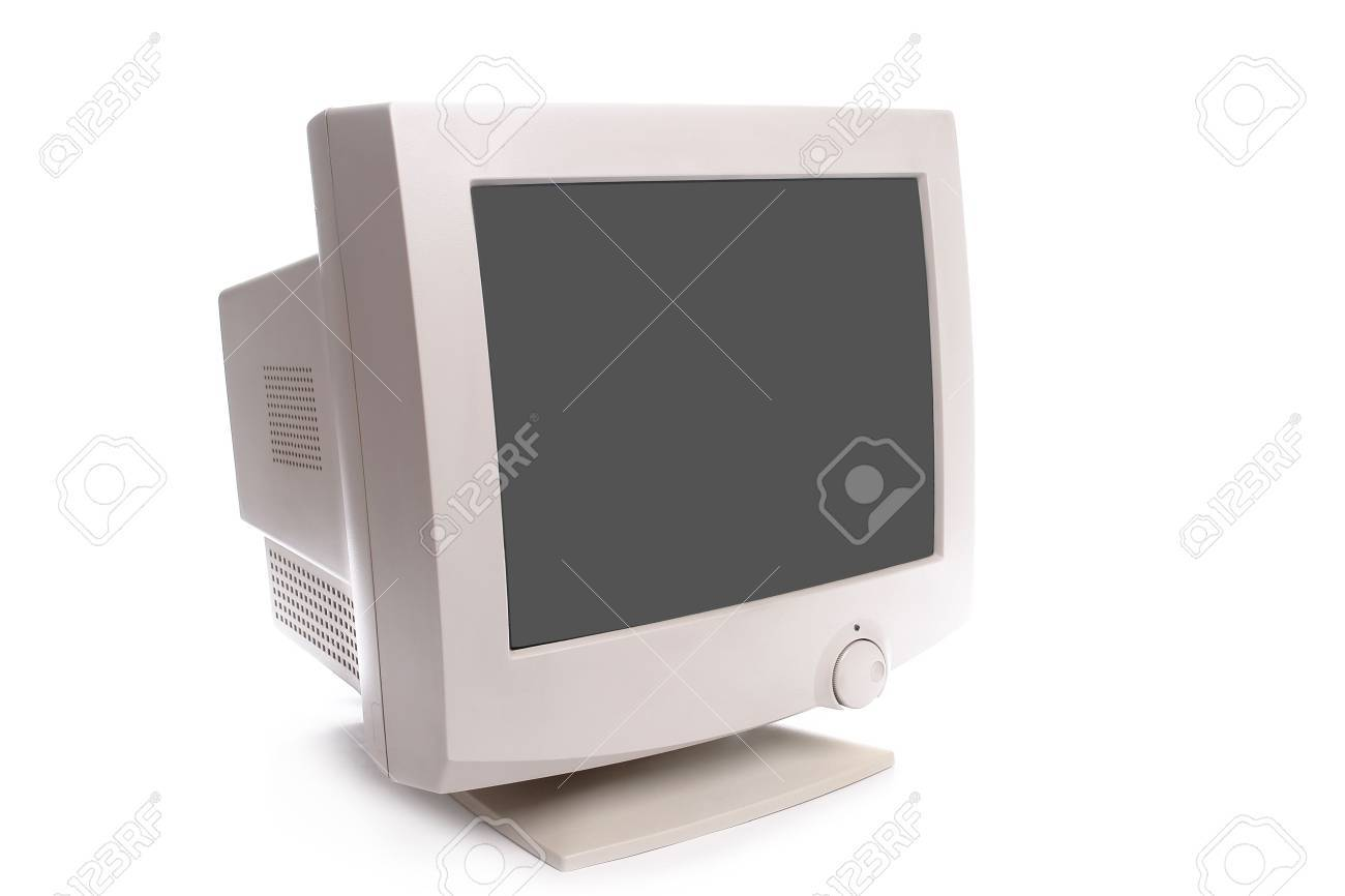 Old CTR Monitor Over White Background Stock Photo Picture And 1300x866