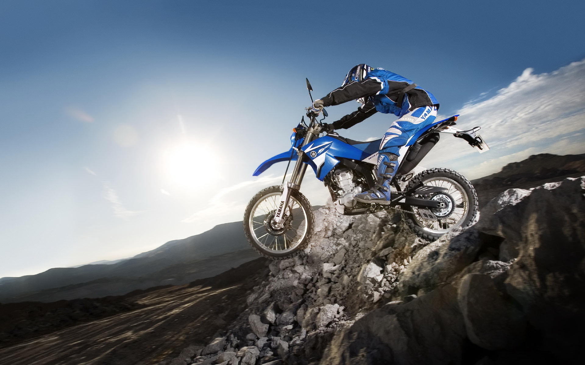 YAMAHA MOTOCROSS BIKE BLUE NEW GIANT ART PRINT POSTER PICTURE WALL X1440