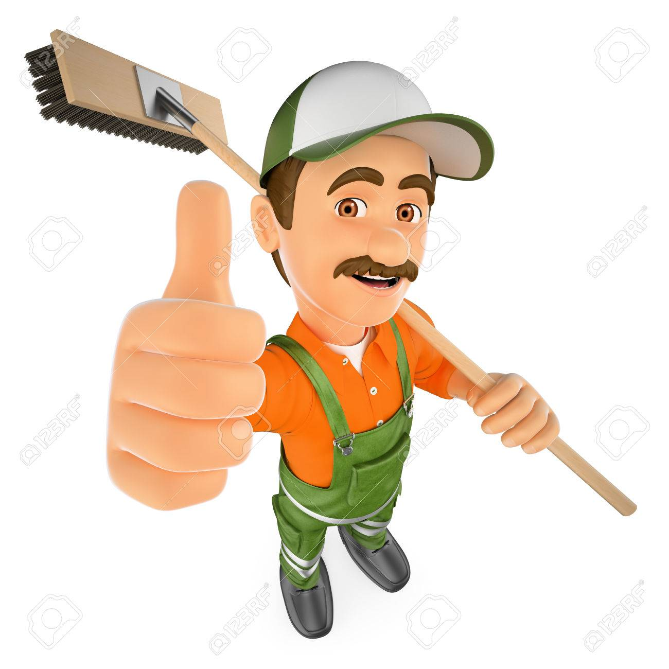 3d Working People Illustration Street Sweeper With Thumb Up 1300x1300