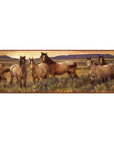 Wallcoverings Grey Horse Wallpaper Border Western Country CH7813BD 400x500