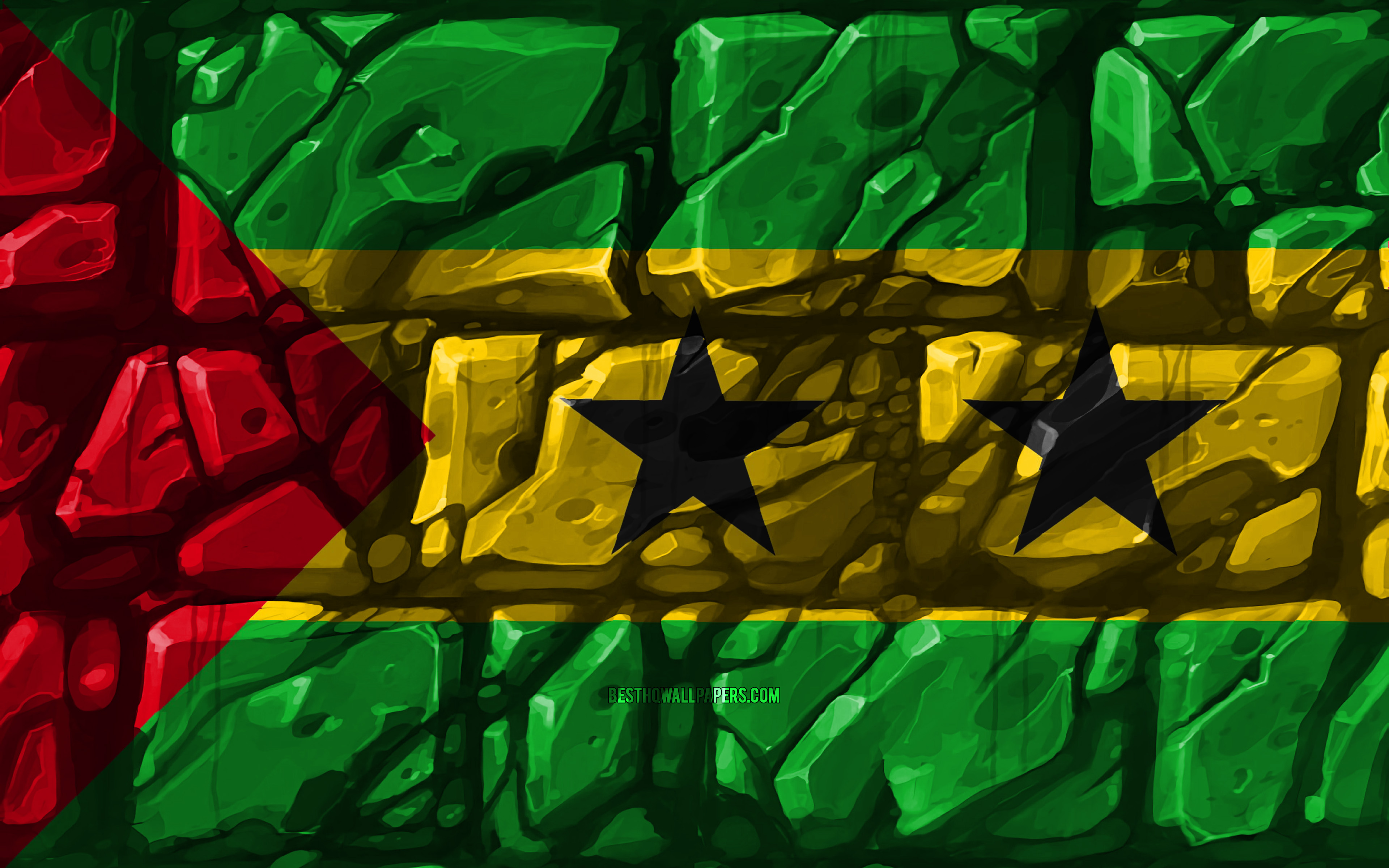 Download wallpapers Sao Tome and Principe flag brickwall 4k 3840x2400
