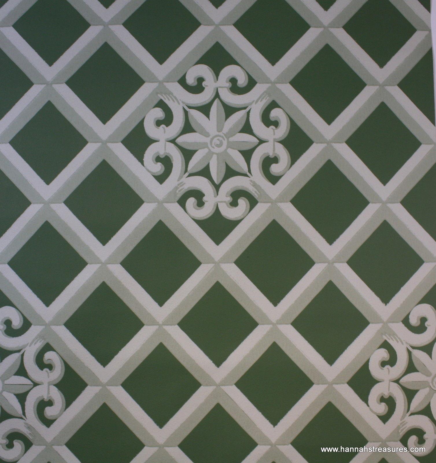Lattice Wallpaper: Green And White Lattice Wallpaper