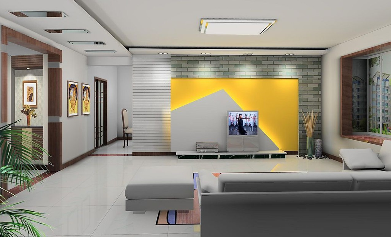 Free Download Yellow And Gray Tv Wall Design Yellow Tv Wall Design Images, Photos, Reviews
