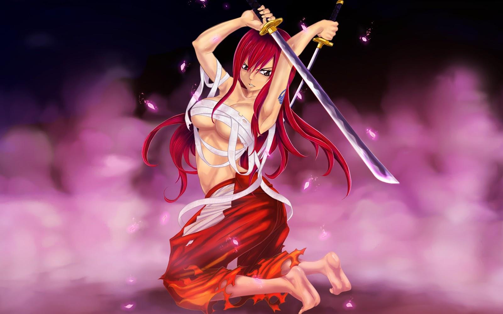 sexy erza scarlet katana girl anime hd 1600x1000