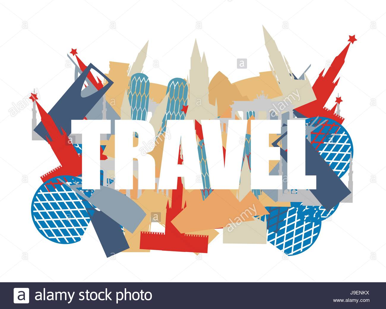 Travel Text on background silhouettes attractions of countries 1300x1040