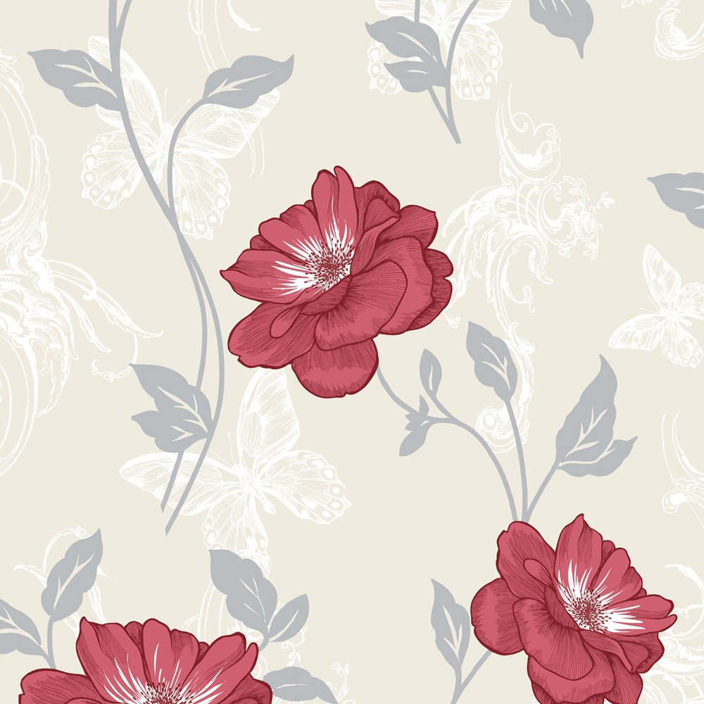 Home Wallpaper Crown Crown Millie Floral Wallpaper Red 1000x1000