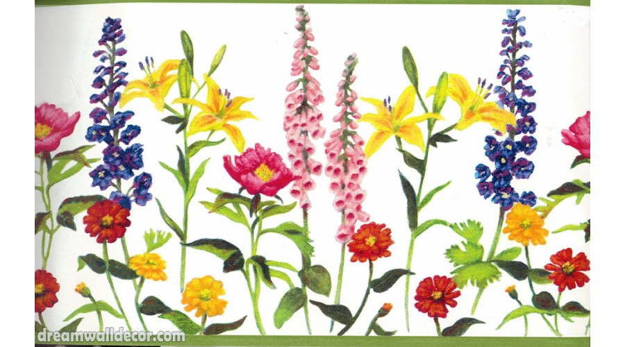 Home Colourful Gardened Flowers Wallpaper Border 900x500