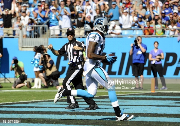 Carolina Panthers Ted Ginn Jr crosses into the end zone for a 594x416