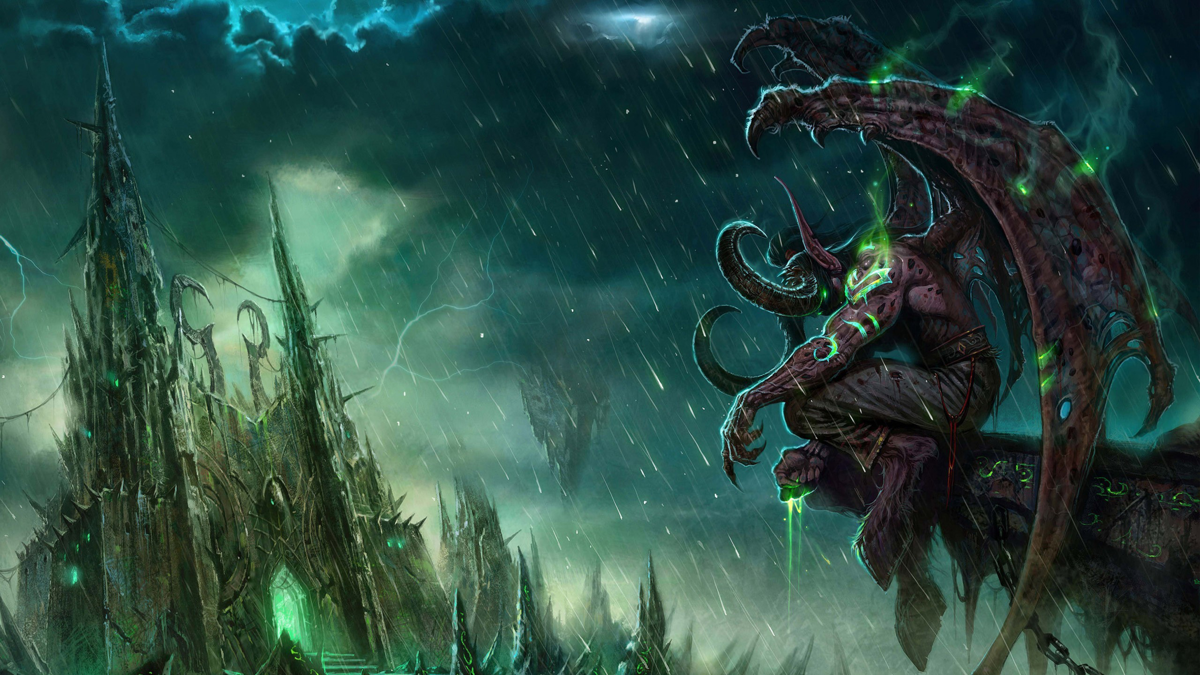 World of warcraft Castle Monster Bad weather Wallpaper Background 3840x2160