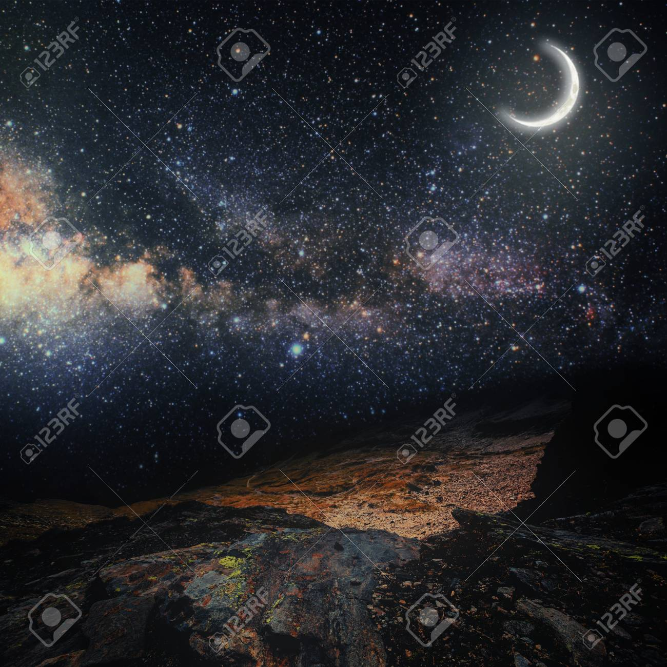 Mountain Backgrounds Night Sky With Stars And Moon Elements 1300x1300