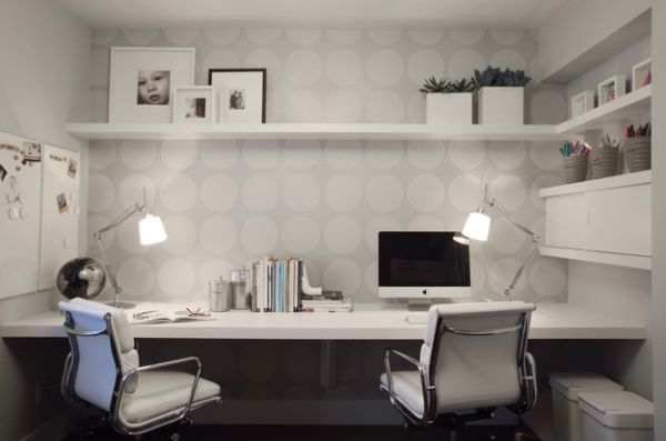 Wallpaper Adds To The Home Office In A Subtle And Classy Manner