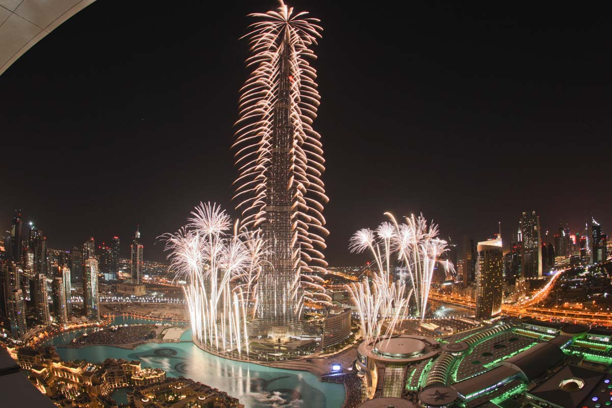 Fireworks At Burj Khalifa New Year Desktop Wallpapers 1200x800