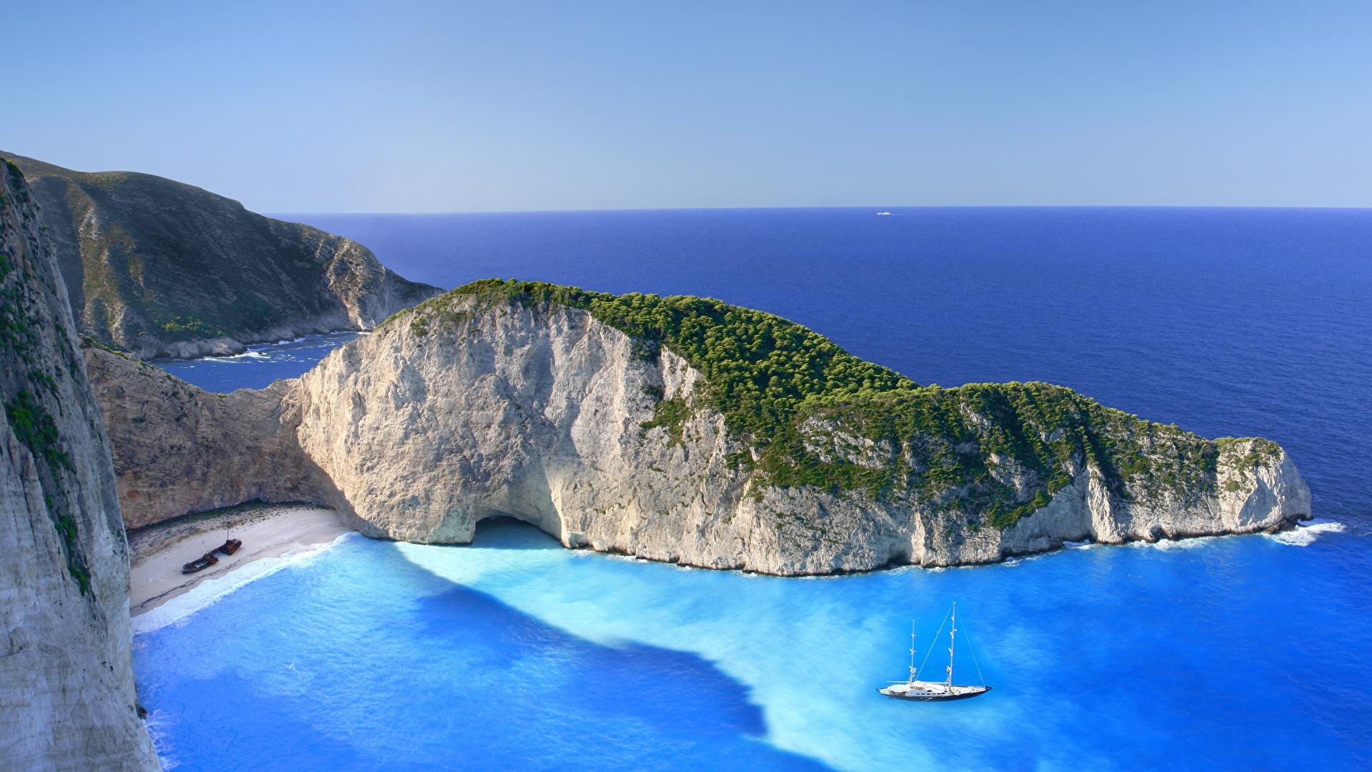 Images Greece Zakynthos Navagio Sea Crag Nature Cove 1920x1080 1920x1080