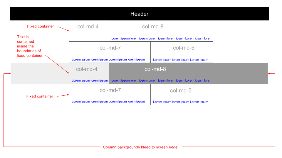 Enable bootstrap column backgrounds to bleed to edge of viewport 960x540