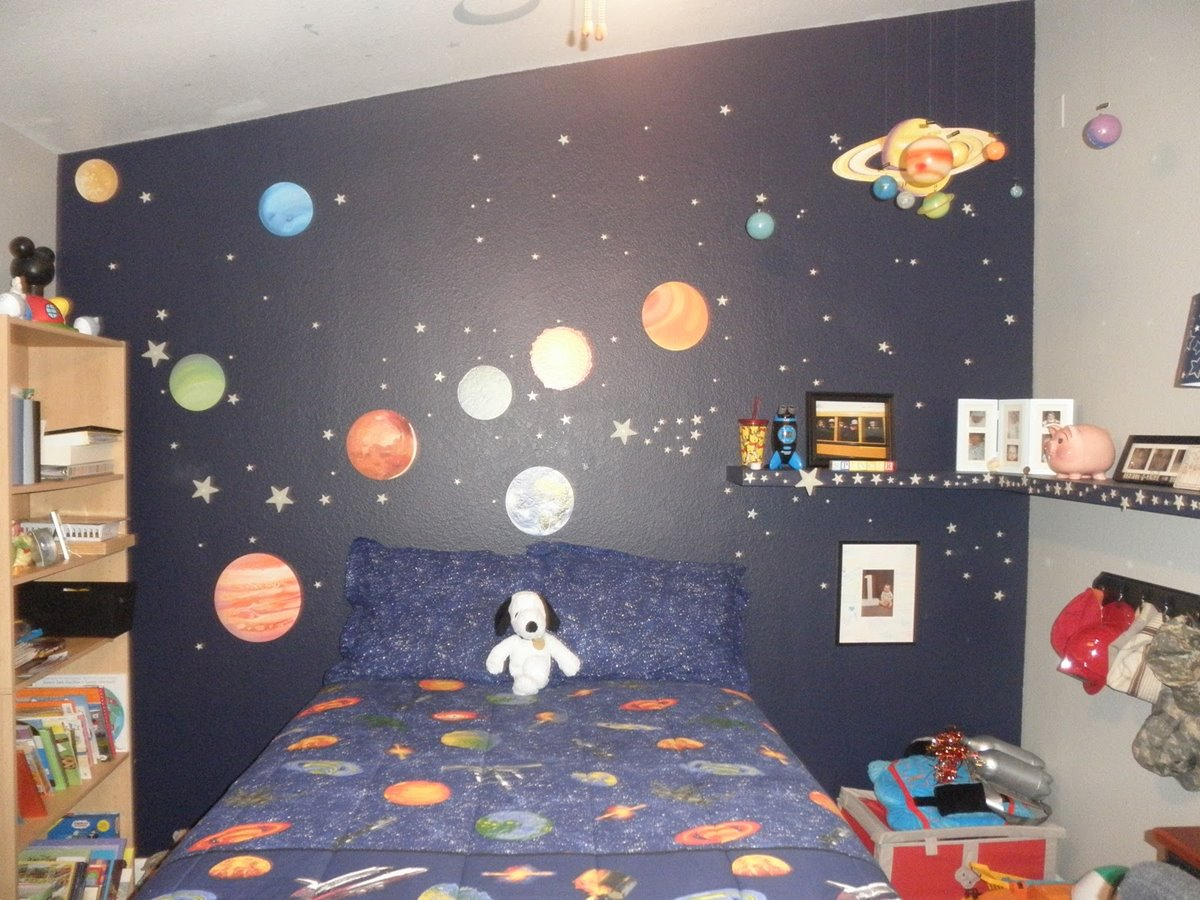 Nice Boys Bedroom With Outer Space Wallpaper 1200x900