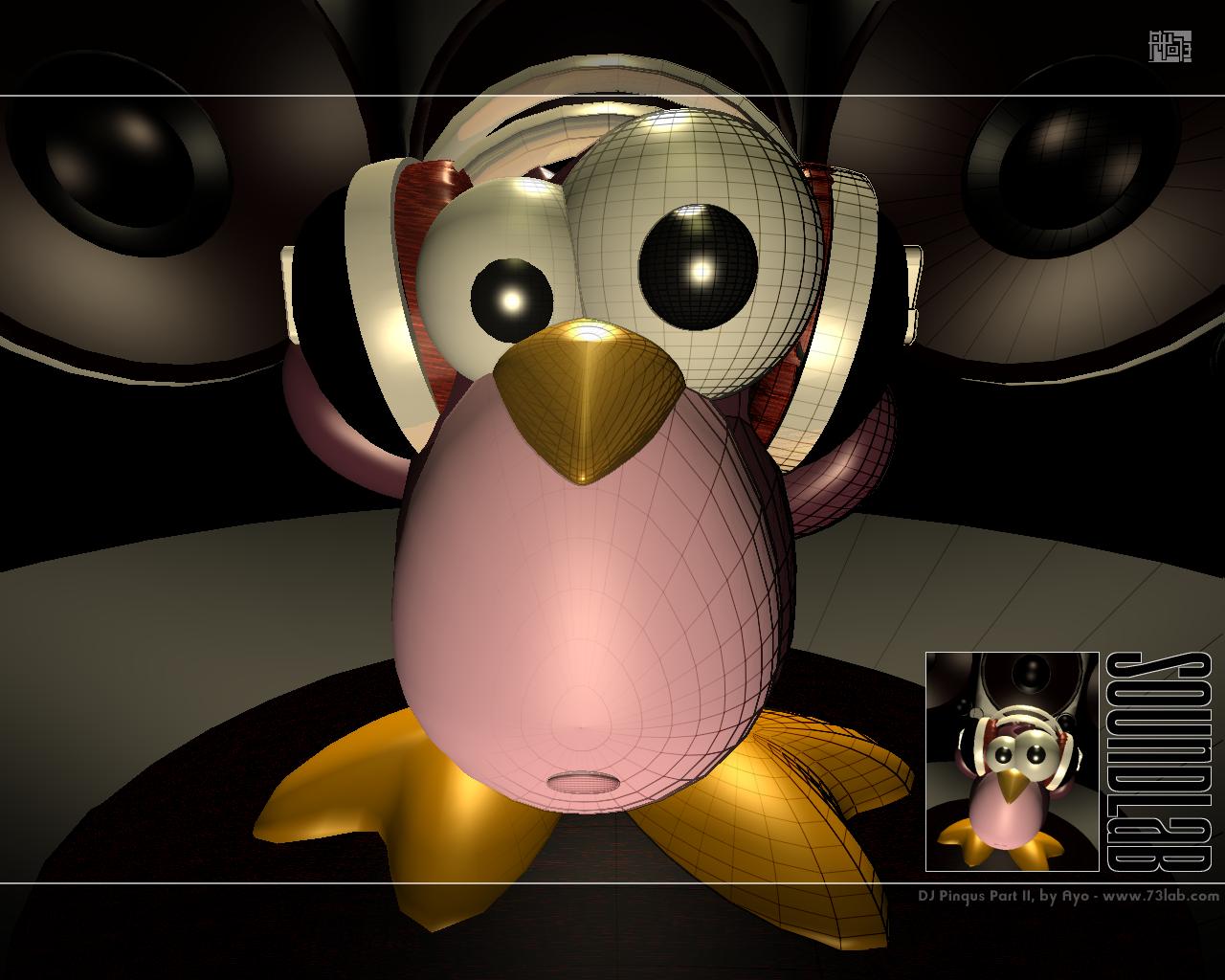 Ests aqu Inicio Animacin Pingino Pink Linux 1280x1024