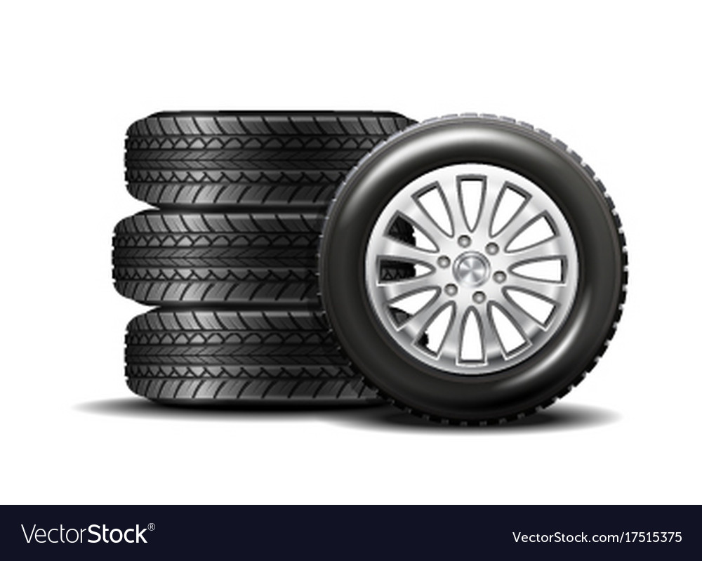 Car tires isolated on white background Royalty Vector 1000x799