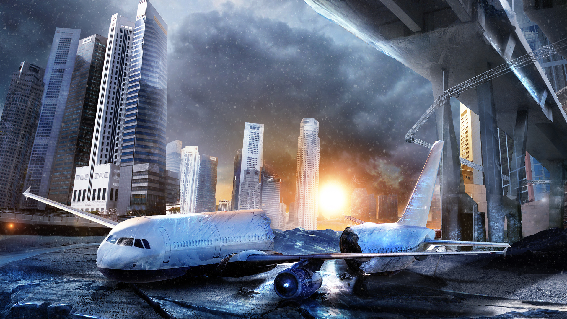Airplane Buildings Skyscrapers Crash Sunset cities aircraft wallpaper 1920x1080