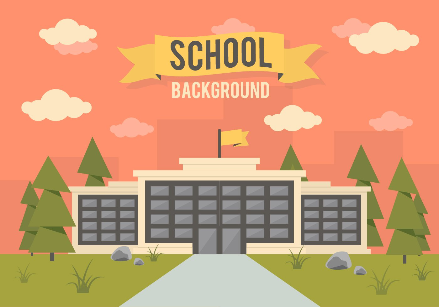 School Landscape Vector Background   Download 1400x980