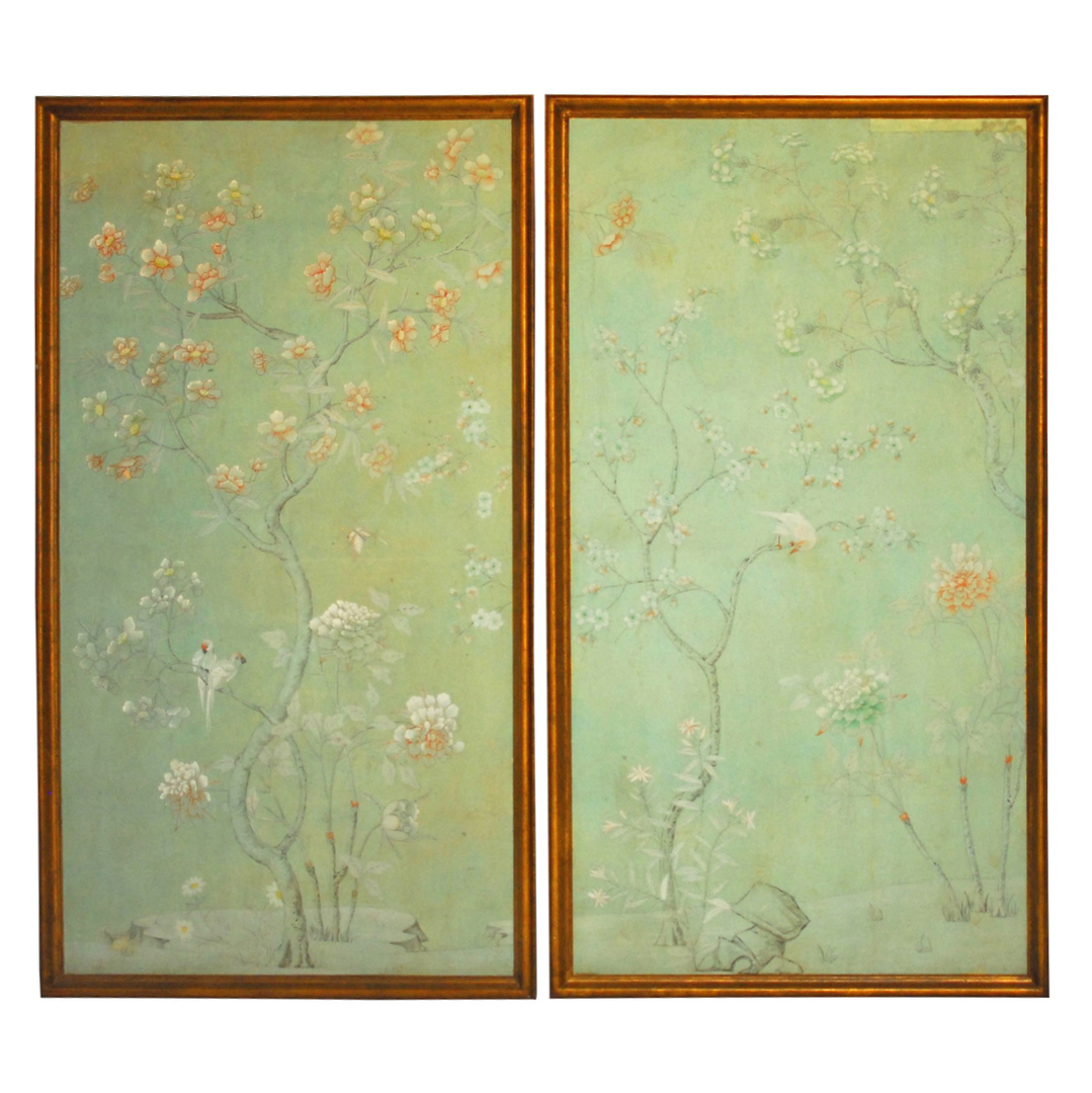 Chinoiserie Flower Motif Wallpaper Panels   Pair on The HighBoy 1079x1080