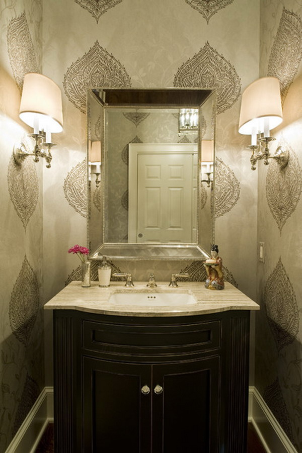 Wallpapered Powder Room 600x901